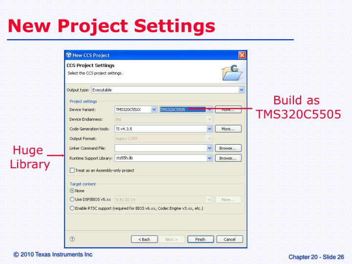 New Project Settings