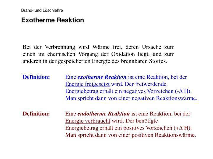 Exotherme Reaktion