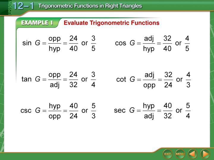 Evaluate Trigonometric Functions