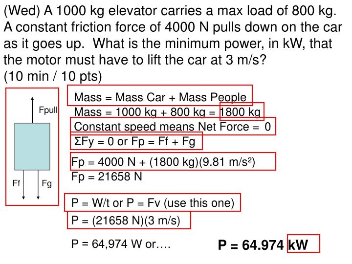 (Wed) A 1000 kg elevator carries a max load of 800 kg.  A constant friction force of 4000 N pulls down on the car as it goes up.  What is the minimum power, in kW, that the motor must have to lift the car at 3 m/s?                  (10 min / 10 pts)