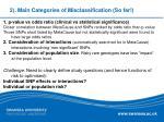2 main categories of misclassification so far