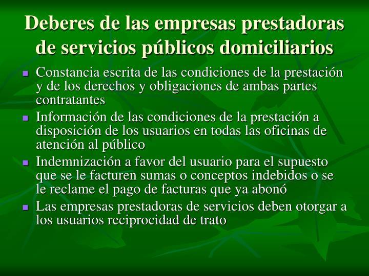 Deberes de las empresas prestadoras de servicios públicos domiciliarios