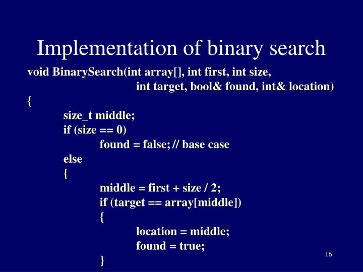 Implementation of binary search