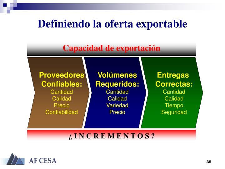Definiendo la oferta exportable
