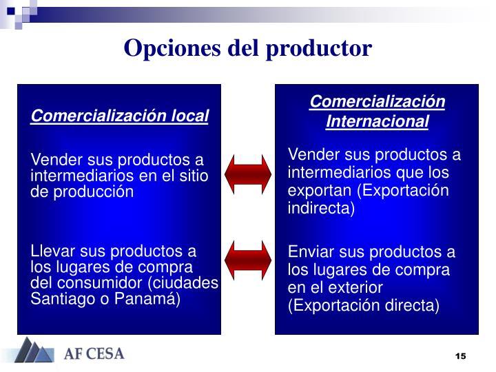 Opciones del productor