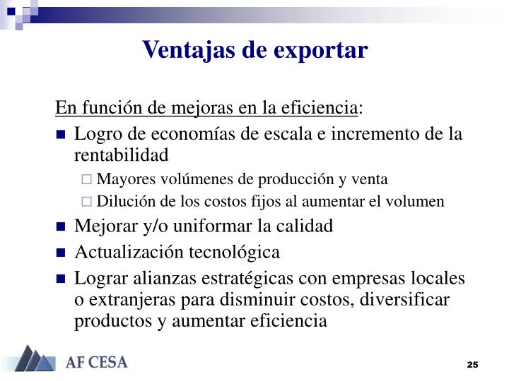 Ventajas de exportar