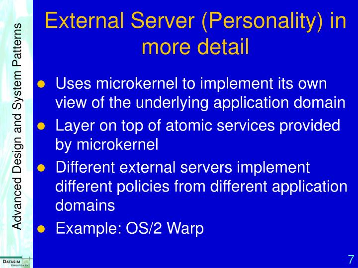 External Server (Personality) in more detail