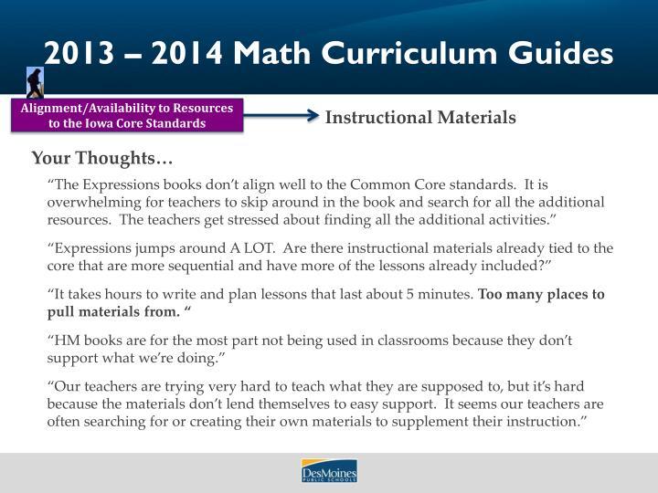 2013 – 2014 Math Curriculum Guides
