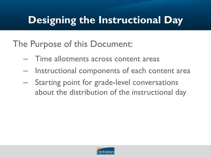 Designing the Instructional Day