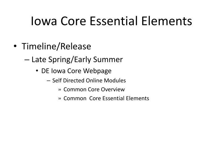 Iowa Core Essential Elements