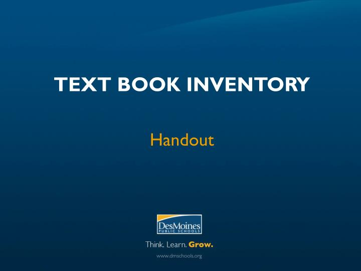 Text Book Inventory