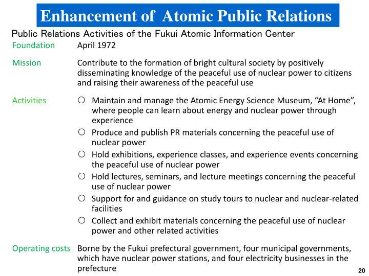 Enhancement of  Atomic Public Relations