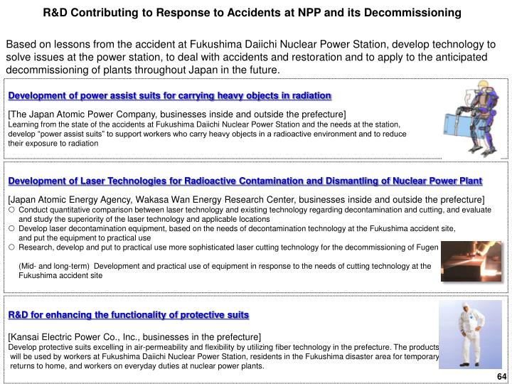 R&D Contributing to Response to Accidents at NPP and its Decommissioning