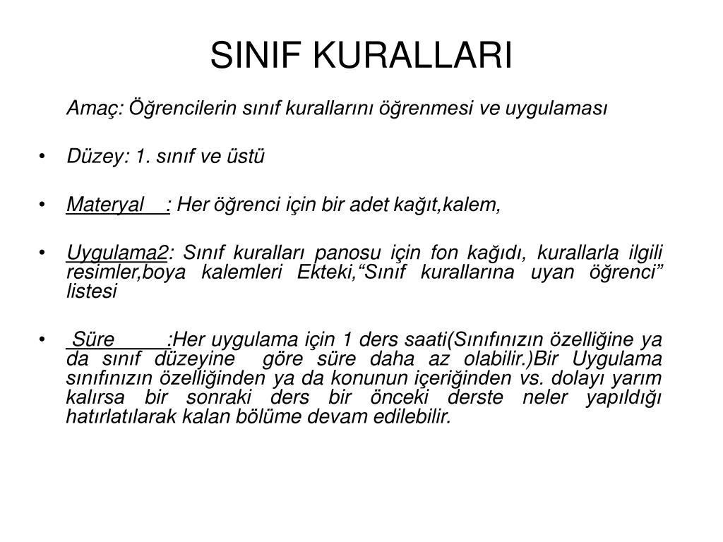 Ppt Sinif Kurallari Powerpoint Presentation Free Download Id