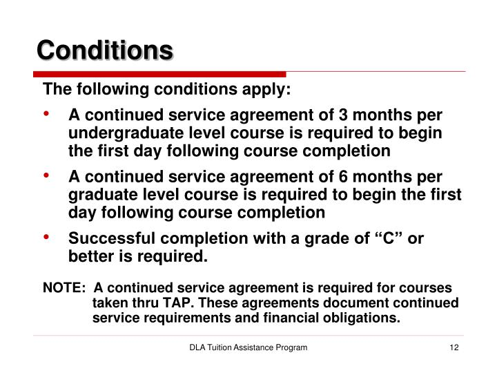 Ppt dla tuition assistance program tap reference powerpoint conditions the following conditions apply a continued service agreement platinumwayz