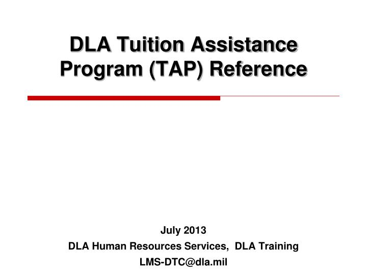 dla tuition assistance program tap reference n.