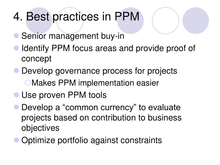 4. Best practices in PPM