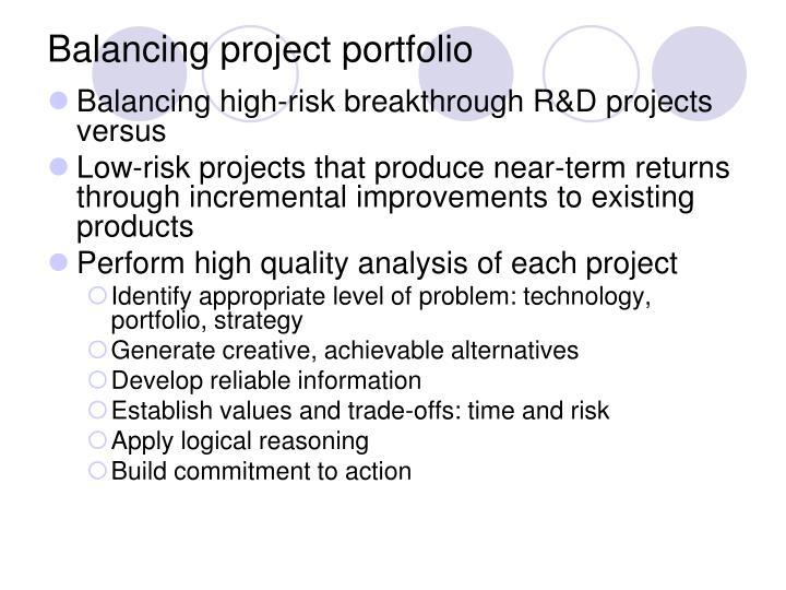 Balancing project portfolio