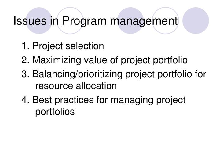 Issues in Program management