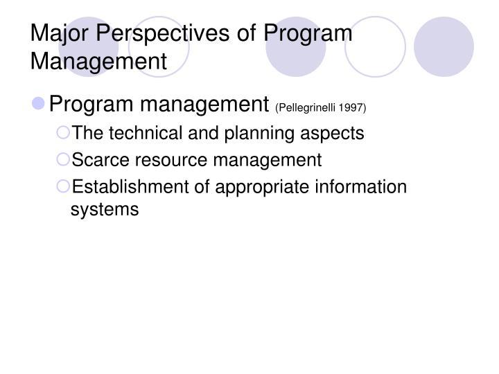 Major Perspectives of Program Management