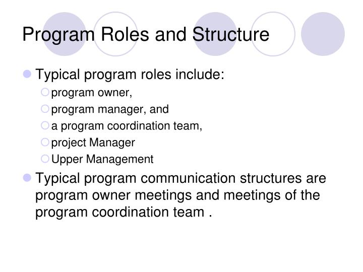 Program Roles and Structure
