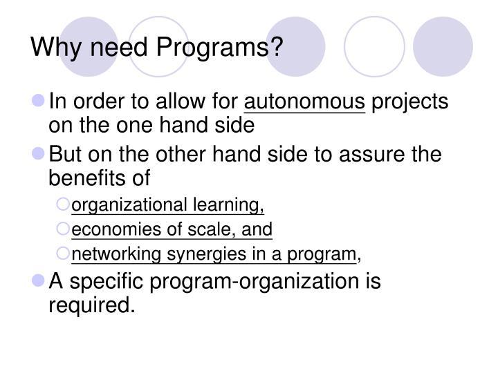 Why need Programs?