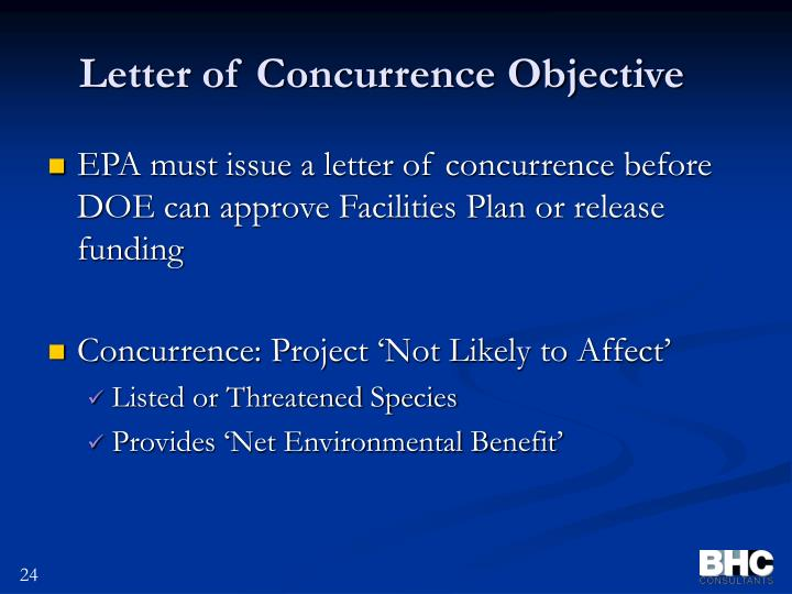 Letter of Concurrence Objective