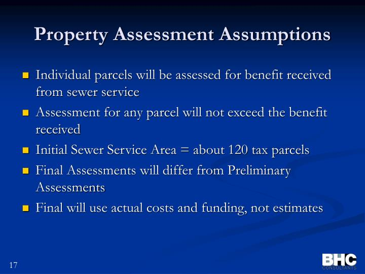 Property Assessment Assumptions