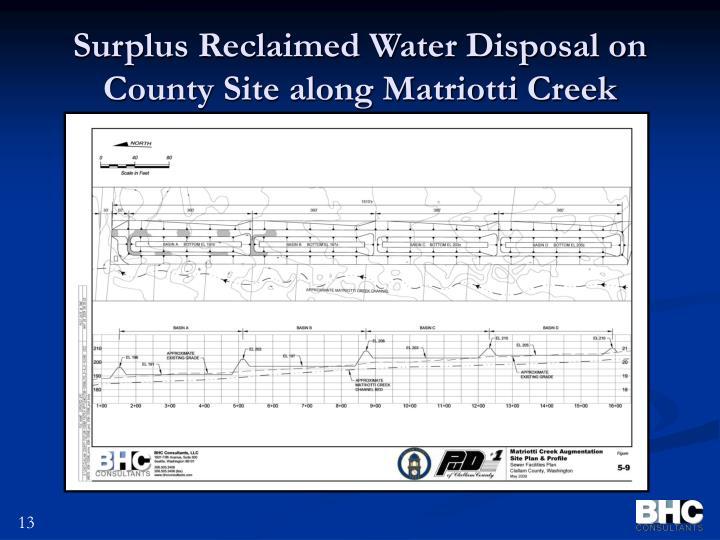 Surplus Reclaimed Water Disposal on County Site along Matriotti Creek