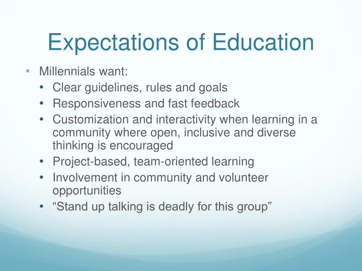 Expectations of Education