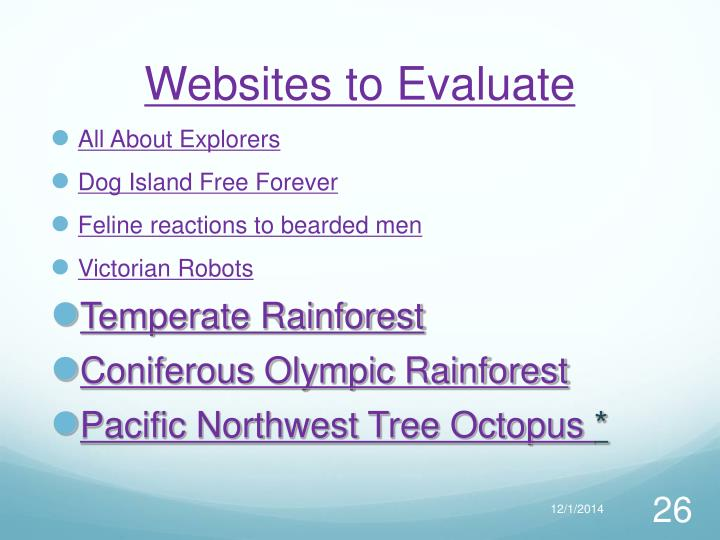 Websites to Evaluate