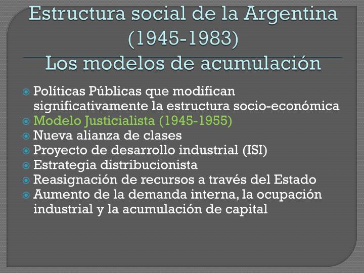 Estructura social de la argentina 1945 1983 los modelos de acumulaci n