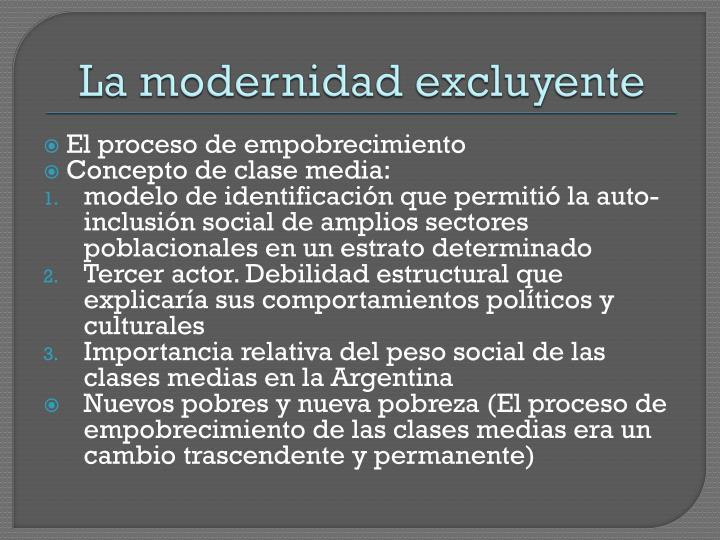La modernidad excluyente