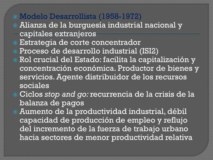 Modelo Desarrollista (1958-1972)