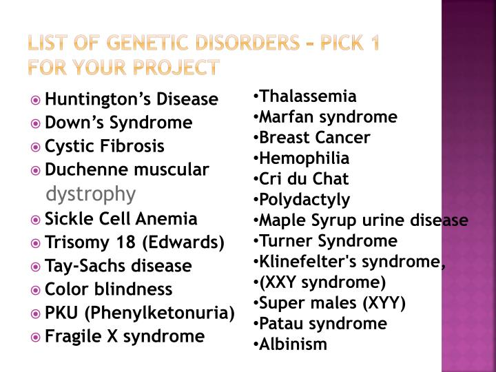 List Of Genetic Disorders Pick 1 For Your Project