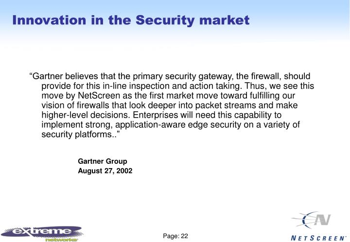 Innovation in the Security market