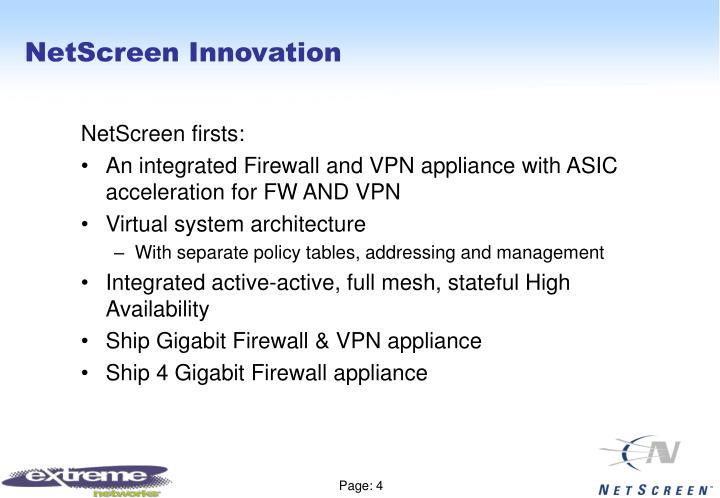 NetScreen Innovation