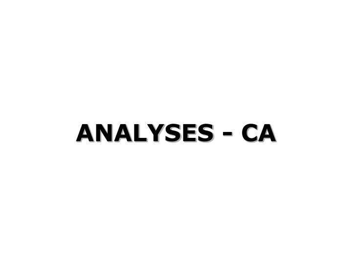 ANALYSES - CA