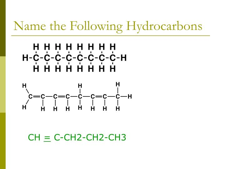 Name the Following Hydrocarbons