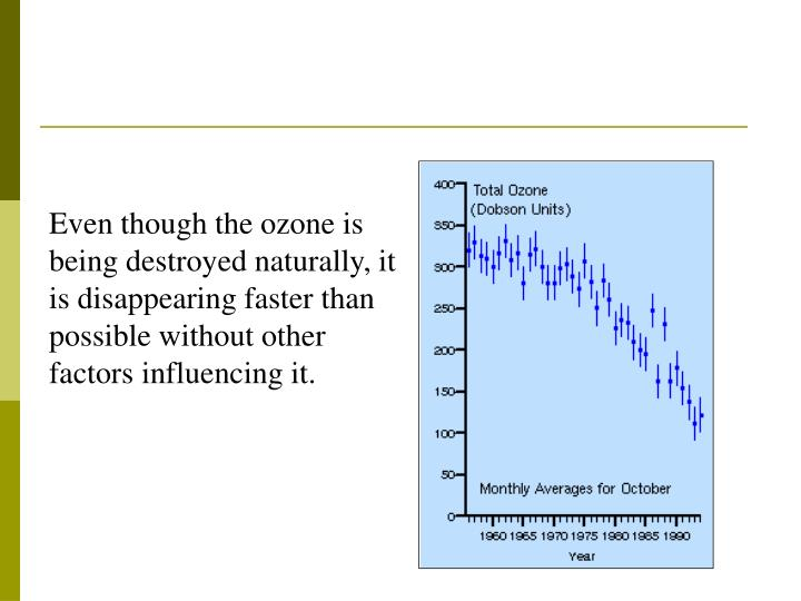 Even though the ozone is being destroyed naturally, it is disappearing faster than possible without other factors influencing it.