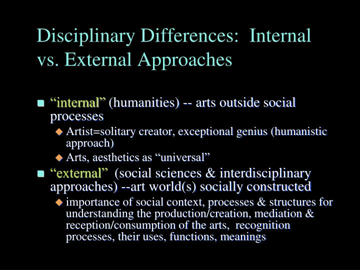 Disciplinary Differences:  Internal vs. External Approaches