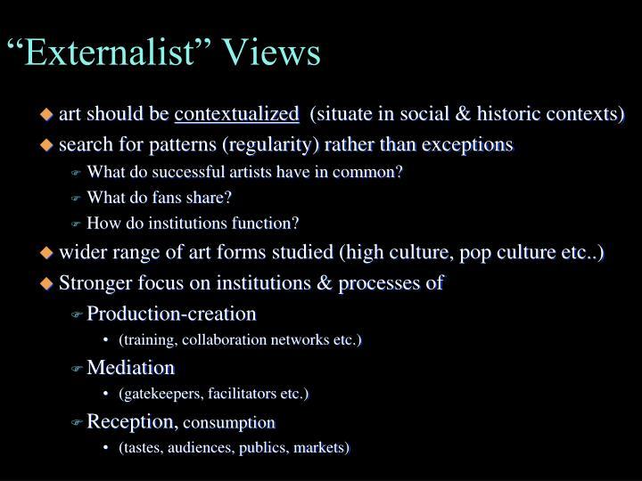 """""""Externalist"""" Views"""