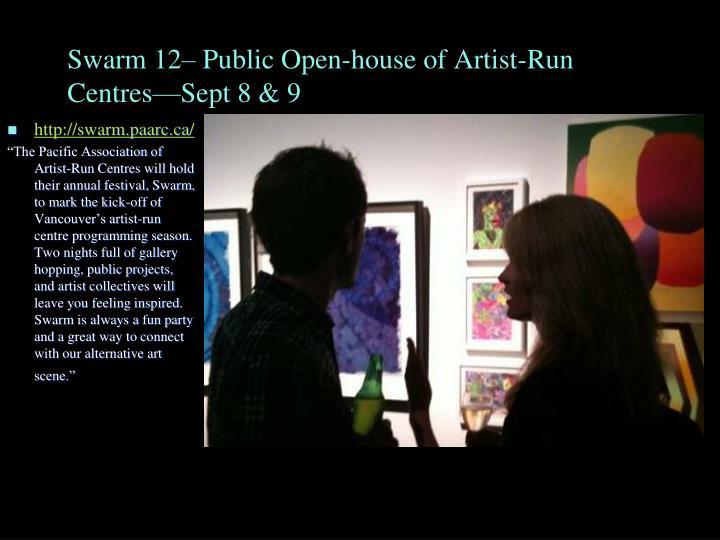 Swarm 12– Public Open-house of Artist-Run Centres—Sept 8 & 9
