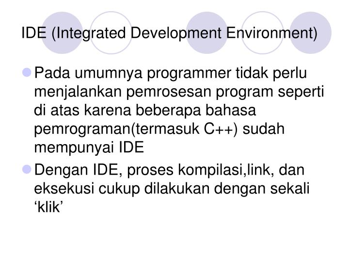 an integrated development environment The latest version of this topic can be found at using the visual studio ide for c++ desktop development the visual studio integrated development environment (ide) offers a set of tools that help you write and modify code, and also detect and correct errors.