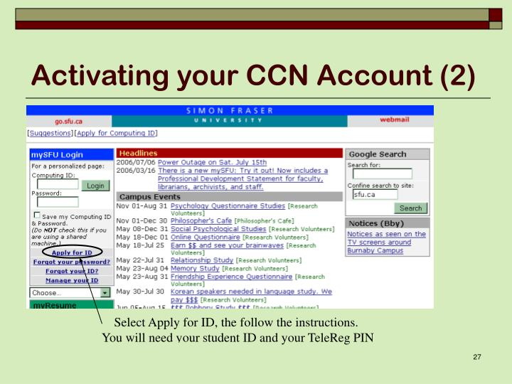 Activating your CCN Account (2)
