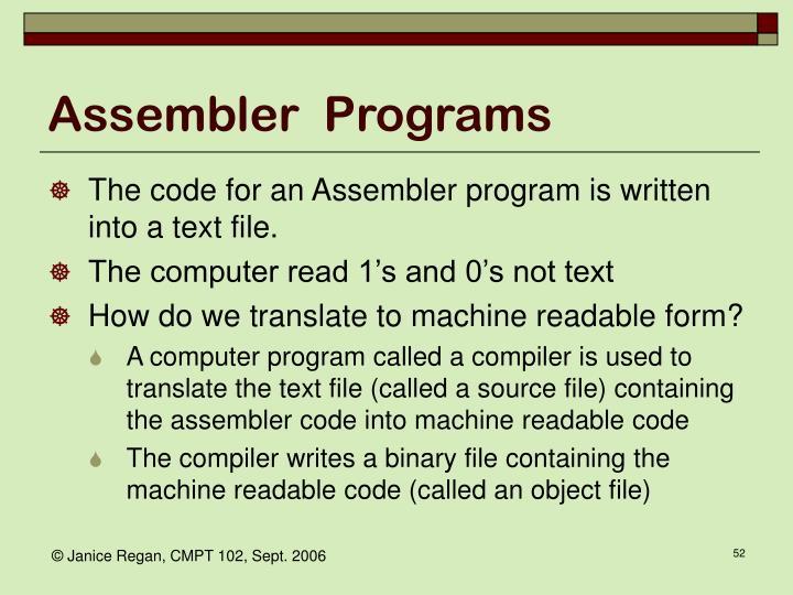 Assembler  Programs