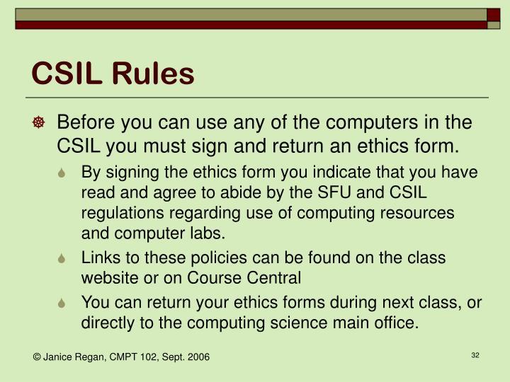 CSIL Rules