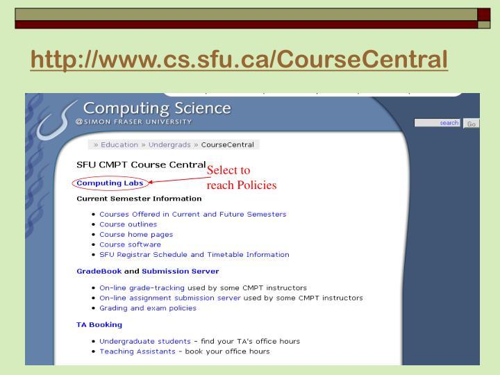 http://www.cs.sfu.ca/CourseCentral