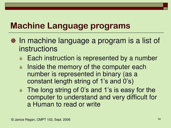 Machine Language programs
