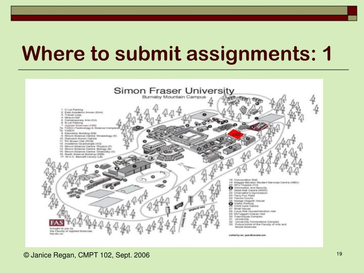 Where to submit assignments: 1